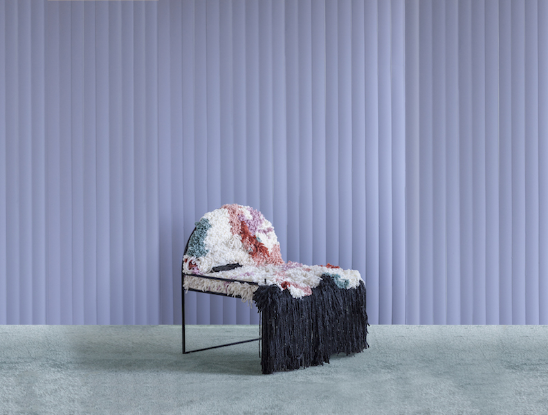 Copy of sw handwoven fluffy yarn chair soft geometry large