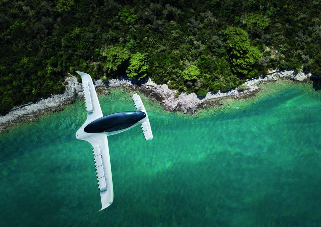 Lilium J006 air taxi flying over ocean coastline print