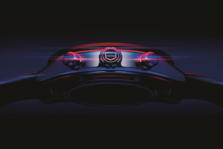 Detalle del reloj de Tag Heuer y Porsche