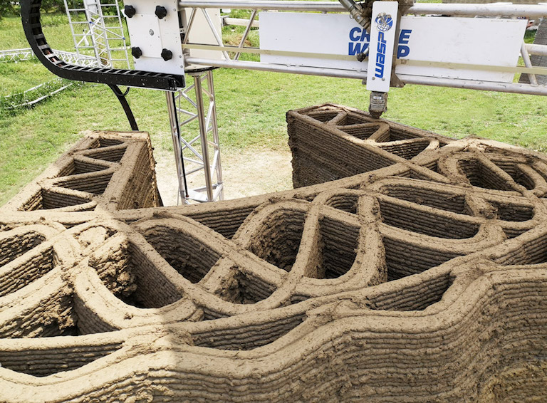 Tecla 3d printed earth wall section by Crane WASP infill WEB