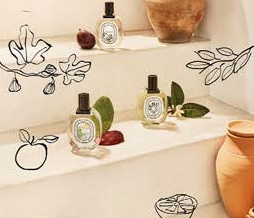 Dyptique, Colección Verano Mediterráneo: :Eau de toilette Ilio – 100 ml, 112 € Perfume para el cabello Ilio – 30 ml, 44 €