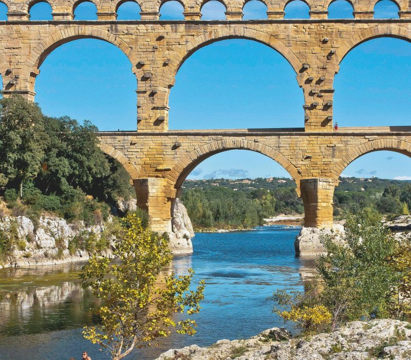 E2E10Y France Gard Pont du Gard listed as World Heritage by UNESCO Roman aqueduct bridge length 274m height 49m